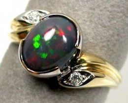 BLACK OPAL 18K GOLD RING SIZE 7 SCO1212
