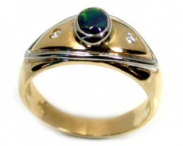 BLACK OPAL 18K GOLD RING SIZE 7.5 SCO1217
