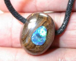 VIDEO NOW RUNING BOULDER OPAL INLAY PENDANT 45 CTS DV13