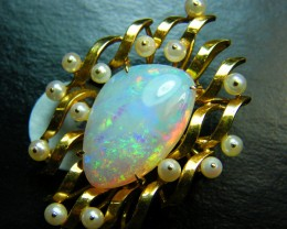 34.95CTS QUALITY WHITE  OPAL 14K PENDANT-BROACH SAFE