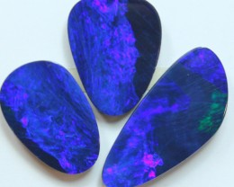 18.59 CTS 3PCS DOUBLET OPAL PARCEL ELECTRIC BLUE COLORS C509