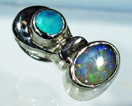 5.21 CTS SOLID OPAL PENDANT SILVER + CHALCEDONY  [SOJ2735]