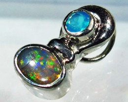 5.18 CTS SOLID OPAL PENDANT SILVER + CHALCEDONY  [SOJ2738]