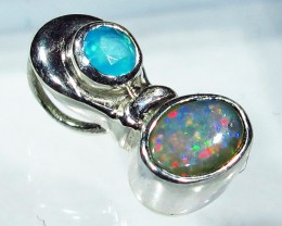 5.46 CTS SOLID OPAL PENDANT SILVER + CHALCEDONY  [SOJ2742]