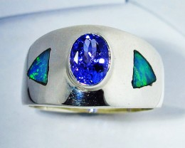 6.5 RING SIZE OPAL AND TANZANITE SILVER [SOJ2778]