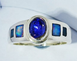 9.5 RING SIZE OPAL AND TANZANITE SILVER SOJ2779