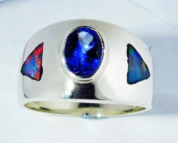 5.5 RING SIZE OPAL AND TANZANITE SILVER FACTORY MADE [SOJ2780]