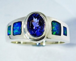 8 RING SIZE OPAL AND TANZANITE SILVER FACTORY MADE [SOJ2781]
