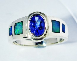 7 RING SIZE OPAL AND TANZANITE SILVER [SOJ2782]
