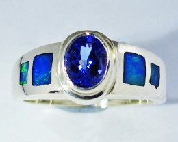 9 RING SIZE OPAL AND TANZANITE SILVER FACTORY MADE [SOJ2783]