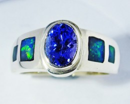 5.5 RING SIZE OPAL AND TANZANITE SILVER  [SOJ2784]