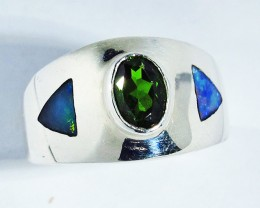 6.5 RING SIZE OPAL & CHROME DIOPSIDE [SOJ2772]