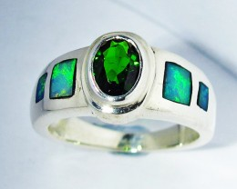 5.5 RING SIZE OPAL & CHROME DIOPSIDE [SOJ2776]