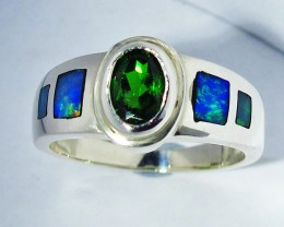 7 RING SIZE OPAL AND CHROME DIOPSIDE [SOJ2777]