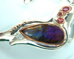 UNIQUE DESIGN BOULDER OPAL SILVER PENDANT 168.30 CTS OF-154