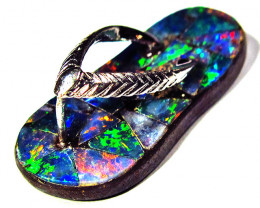 private auction 6 pieces of SILVER MOSAIC  SANDAL FOR PENDANT multi