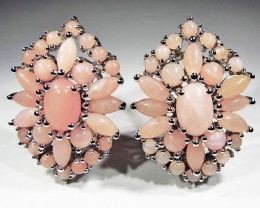 PERU PINK OPAL EARRINGS -SILVER [SOJ2847]