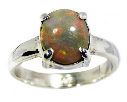 RING SIZE 8.5 SOLID OPAL RING SILVER [SOJ2831]