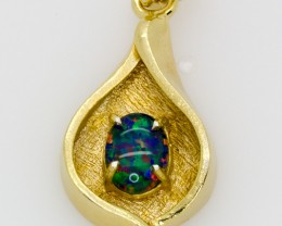 Australian Opal Triplet set in a 18Ct  gold Plated Pendant