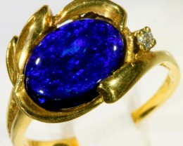 DEEP BLUE BLACK OPAL 18K GOLD RING SIZE  7     CF 210