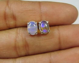 7  X 5 MM   CRYSTAL OPAL  STERLING SILVER  EARRINGS CF 319