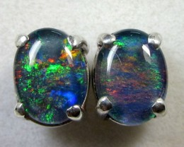 8x6 MM  TRIPLET  OPAL  STERLING SILVER  EARRINGS CF 364