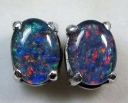 8x6 MM  TRIPLET  OPAL  STERLING SILVER  EARRINGS CF 369