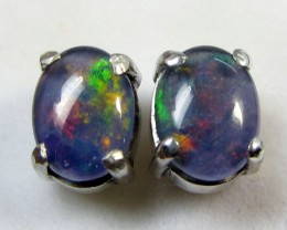 8x6 MM  TRIPLET  OPAL  STERLING SILVER  EARRINGS CF 372