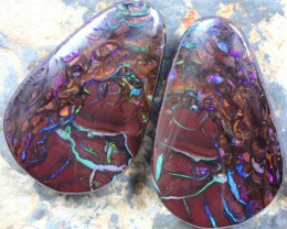 GREAT OPAL KOROIT PAIR VEINS OF FIRE MULTI COLORS