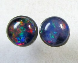 4x4 MM  TRIPLET OPAL STERLING SILVER EARRINGS CF 416