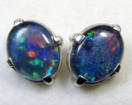 12x10 MM  TRIPLET OPAL STERLING SILVER EARRINGS CF 478