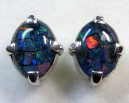 10X8 MM  MOSAIC TRIPLET OPAL STERLING SILVER EARRINGS CF 485