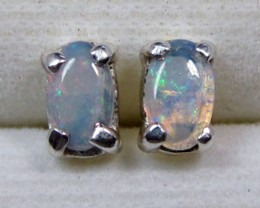 5X3 MM SOLID OPAL STERLING SILVER EARRINGS CF 498
