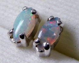 5X3 MM SOLID OPAL STERLING SILVER EARRINGS CF 502