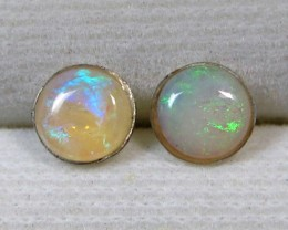 5x5 MM SOLID OPAL STERLING SILVER EARRINGS CF 508
