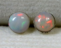 4x4 MM SOLID OPAL STERLING SILVER EARRINGS CF 539