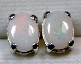 7x5 MM SOLID OPAL STERLING SILVER EARRINGS CF 564