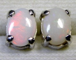 7x5 MM SOLID OPAL STERLING SILVER EARRINGS CF 569