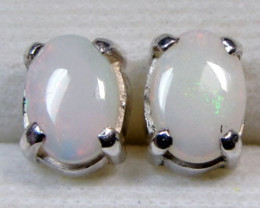 7x5 MM SOLID OPAL STERLING SILVER EARRINGS CF 574