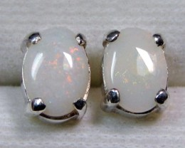 7x5 MM SOLID OPAL STERLING SILVER EARRINGS CF 575