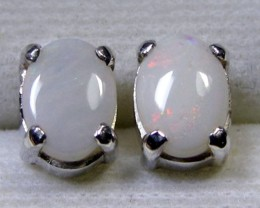 7x5 MM SOLID OPAL STERLING SILVER EARRINGS CF 576
