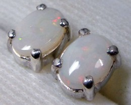 7x5 MM SOLID OPAL STERLING SILVER EARRINGS CF 578
