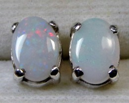 7x5 MM SOLID OPAL STERLING SILVER EARRINGS CF 579