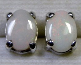 7x5 MM SOLID OPAL STERLING SILVER EARRINGS CF 580