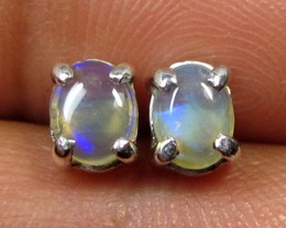 5x4 MM SOLID OPAL STERLING SILVER EARRINGS CF 582