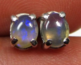 5x4 MM SOLID OPAL STERLING SILVER EARRINGS CF 587