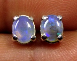 5x4 MM SOLID OPAL STERLING SILVER EARRINGS CF 588