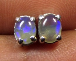 5x4 MM SOLID OPAL STERLING SILVER EARRINGS CF 590