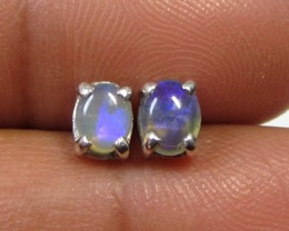 5x4 MM SOLID OPAL STERLING SILVER EARRINGS CF 598