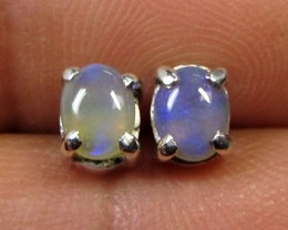 5x4 MM SOLID OPAL STERLING SILVER EARRINGS CF 600